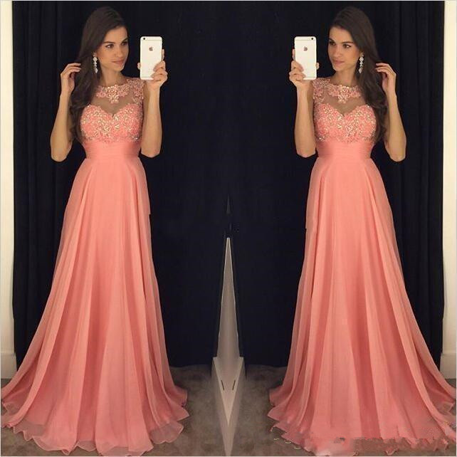 Plus Size Coral Pink A Line Bridesmaid Dresses Chiffon Jewel Neck Lace Appliques Beaded Floor Length Maid Of Honor Bridal Party