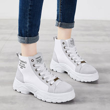 NKAVQI Winter Women Shoes Woman Breathable Canvas Rubber Platform Flat Ankle Boots Female Lace-up Snow Martin Boots Botas Mujer prova perfetto black ankle boots for women rivets studded flat autumn botas mujer genuine leather platform rubber martin boots