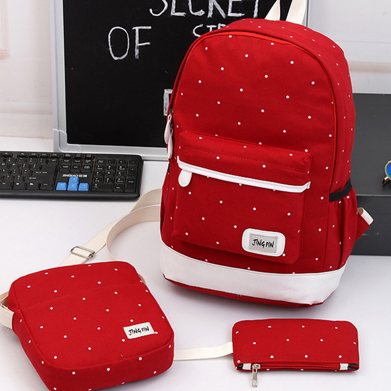 Canvas Shoulder-Bags Travel-Backpacks Female School The of 3pcs/Set