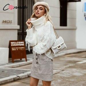 Image 3 - Conmoto 2019 Winter High Waist Skirts Women Button Casual Plaid Female Short Skirt Elegant Pocket Ladies Skirt