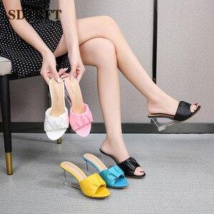 Image 5 - Sdtrft Plus:34 42 43 Dames Kristal Wiggen Stiletto 8Cm Hoge Hakken Sexy Slipper Peep Toe Pompen Vrouwen Sandalen zomer Meisje Schoenen