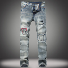 Men's Jeans Break-in Patch Slim Straight-tube Jeans Retro-fashion Moto Jeans Fit Straight Denim Pants Distressed Trousers straight leg light wash distressed jeans