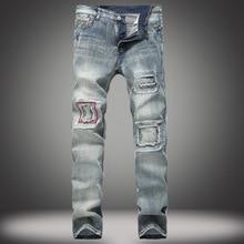 цена на Men's Jeans Break-in Patch Slim Straight-tube Jeans Retro-fashion Moto Jeans Fit Straight Denim Pants Distressed Trousers