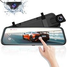 """Azdompg02 10 """"مرآة تعمل باللمس اندفاعة كام تدفق الوسائط ADAS عدسة مزدوجة عكس الكاميرا للرؤية الليلية 1080P مسجل السيارة ل Uber"""
