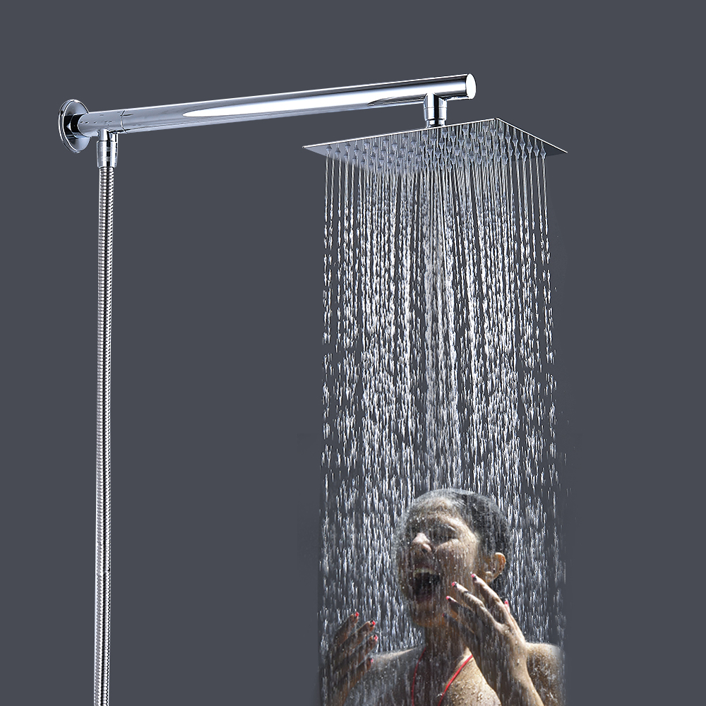 Wall Mounted Rainfall Shower Head Set Chrome 8