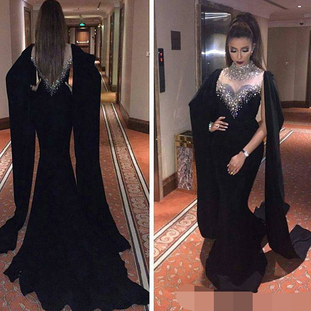 Beaded Black Evening Dresses Sexy Cape Style Latest Mermaid Evening Gowns Dubai Arabic Party Evening Dress 2019 Robe De Soiree