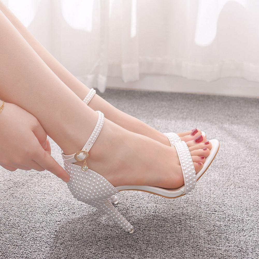 Crystal Queen Bride Wedding Shoes Fashion White Shoes Woman Ankle Strap Party Dress Sandals Open Toe High Heels Pumps Female