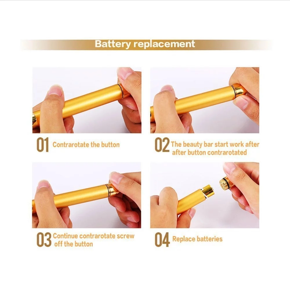 24K золотой ролик вибрирующий массажер для лица для похудения кожи лица красота бар Пульс Укрепляющий массаж лица Подтяжка морщин бар