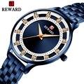 Брендовые синие аналоговые часы для женщин, Роскошные Кварцевые наручные часы из нержавеющей стали, простые женские модные часы со стразам...