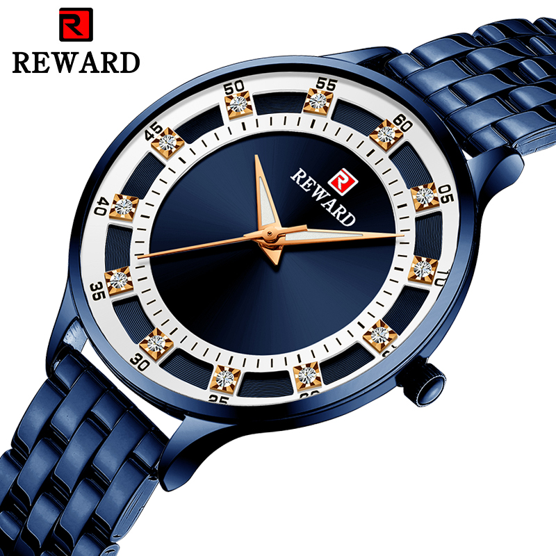 REWARD Brand Blue Analog Watch For Women Luxury Stainless Steel Quartz Wristwatch Simple Ladies Crystal Diamond Fashion Watches
