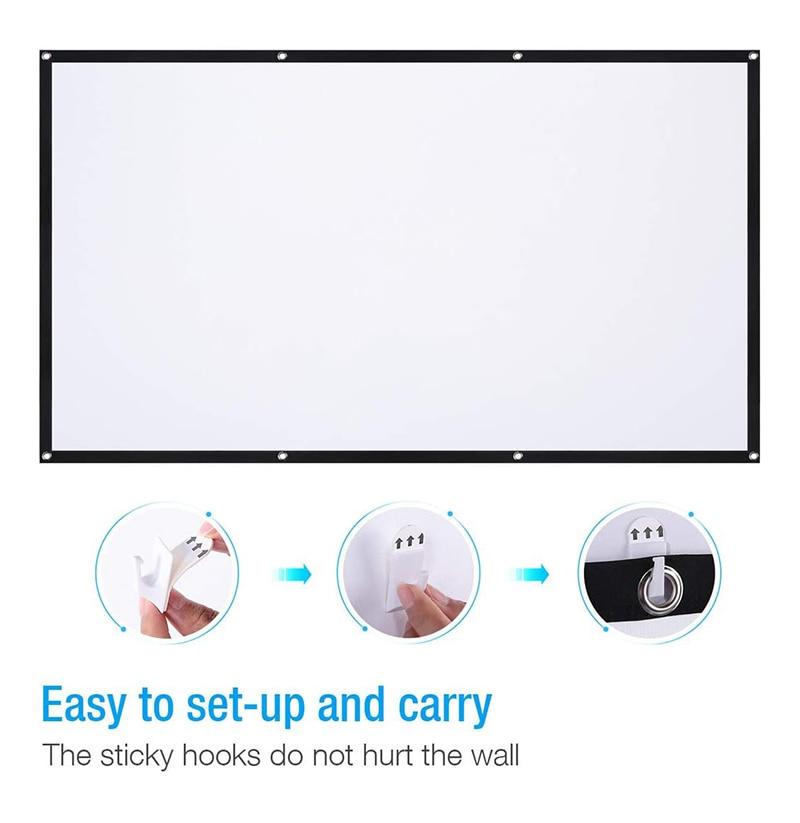 80-дюймовый Портативный проектор Экран HD 16:9 выполненные видеофильм Экран Складная настенный для дома Театр офисные фильмы