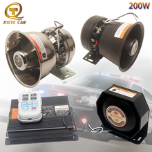 Universal 200W 12V/24V Vehicle Multi-tone Horn Electronic Police Siren Emergency Warning Loudspeaker PA MIC System for Toyota
