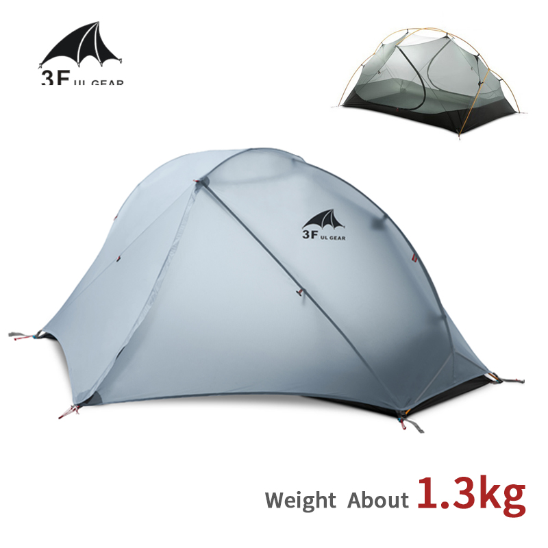 3F UL GEAR Tent 15D Silicone Ultralight Camping Tent 1 Person Double Layer Outdoor Hiking 3-4 Season Travel Tent With Free Mat