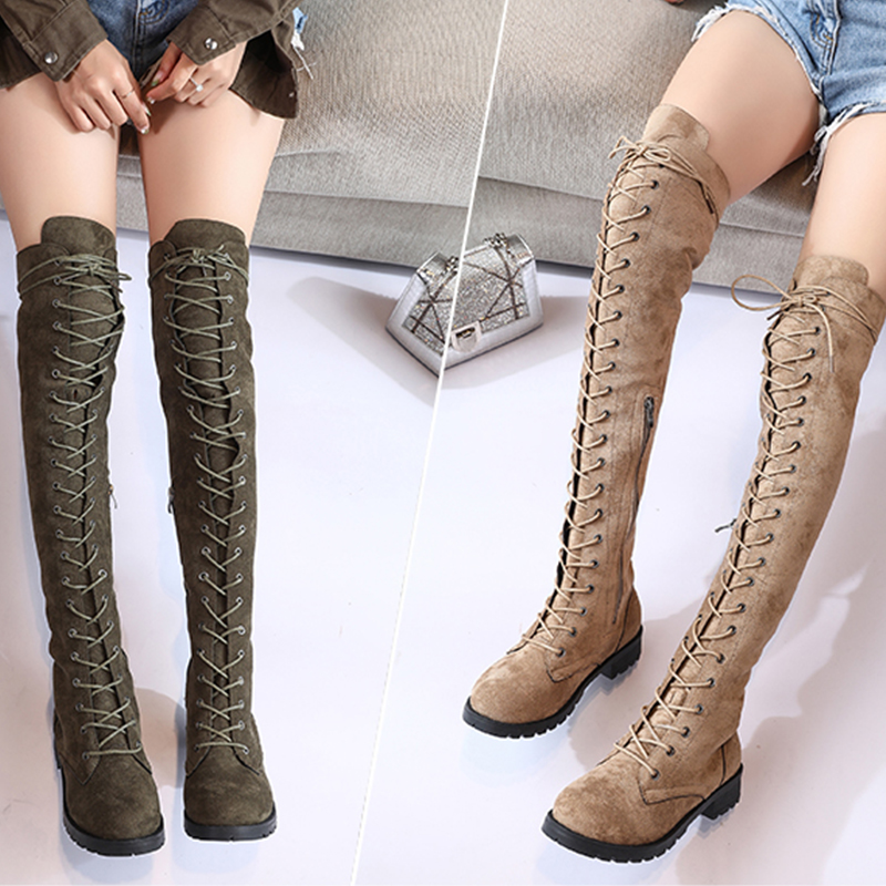 2019 New Sexy Ladies Lace Up Over The Knee Boots Plus Size 43 Platfrom Long Boots Women Shoes Thigh High Boots zapatos de mujer 4