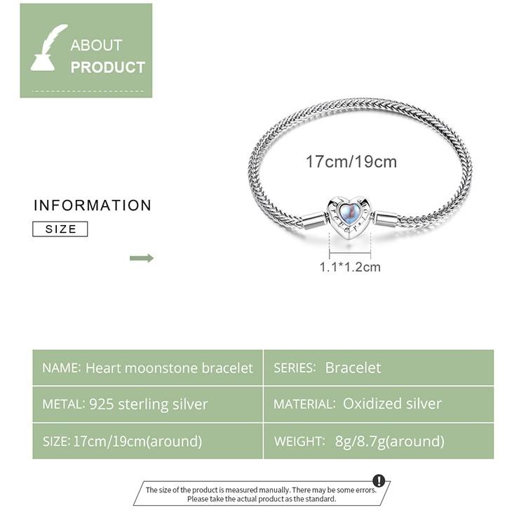 size Heart-Shaped Charm & Beads Bracelet 925 Sterling Silver Snake Chain Basic Bracelet For Women Moonstone Jewelry 17CM 19CM