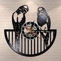 Настенные часы с птицей буджи  современные виниловые часы с изображением животных  настенные часы с попугаем и птицей  подарок на день рожде...
