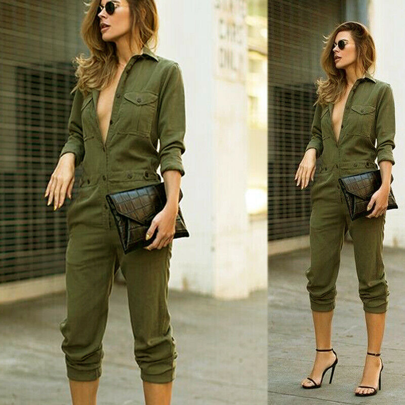 Women  Army Green Jumpsuit Casual Fashion Solid Oversized Boyfriend Baggy Denim Overall Romper Jumpsuits