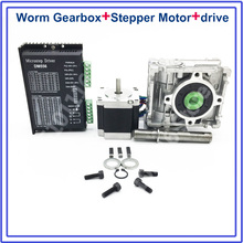 Ratio 20:1 Worm Gearbox RV030 Speed Reducer + Nema23 Stepper Motor DM556 Driver 1.8NM 260Oz-in Convert 90degree for CNC Router