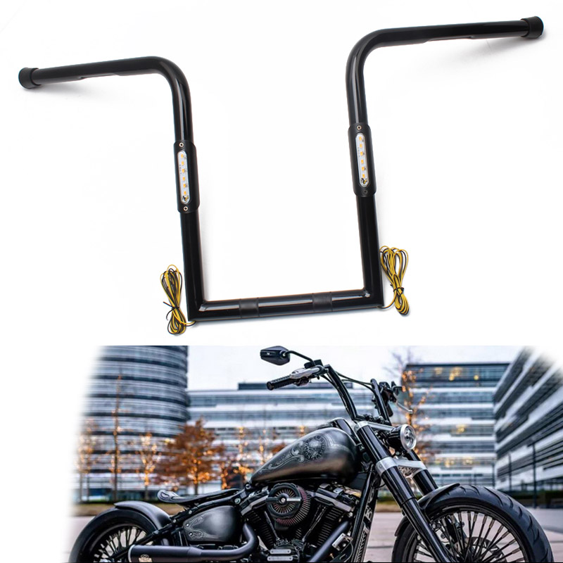 "Universal Motorcycle Black Iron 25mm 14""/16"" High Bar Handlebar +LED Amber Turn Signal Light For Harley Sportster Cafe Racer"