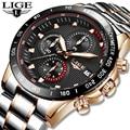 Relogio Masculino, новинка 2019, мужские часы, люксовый бренд, LIGE, с хронографом, мужские спортивные часы, водонепроницаемые, полностью стальные, кварц...