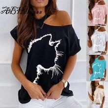 A & bhelenss verão 2021 casual feminino soild topos gato impressão padrão strapless solto camisetas femininas