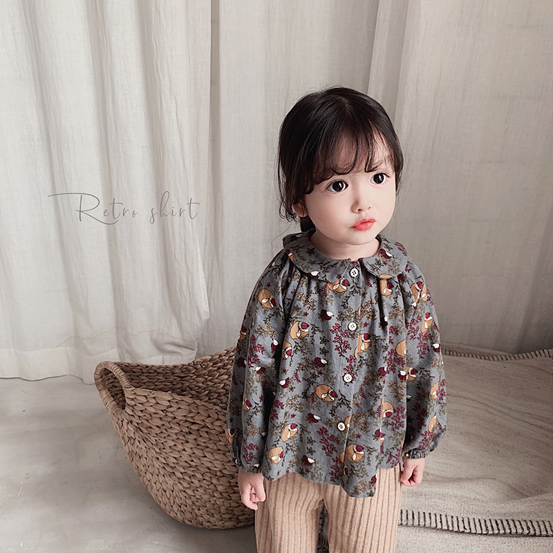 Girls Long Sleeve Floral   Shirt   2019 Fall New Children   Shirt   Baby Kids Pure Cotton Ground Wool Causal Fashion Top   Blouse   Clothing