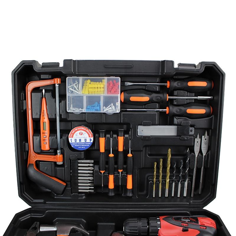 Купить с кэшбэком HOT Manufacturers Selling 47PCS Luxury  Lithiun Electric Drill Household Utility Hand Tools Combination Suit Maintenance Tools