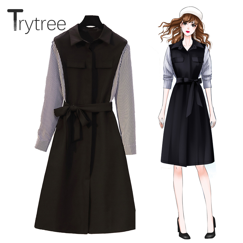 Trytree Autumn Winter Casual Woman Dress Turn-down Collar Pockets Belt Black Patchwork Striped Sleeve Mid-Calf Office Lady Dress