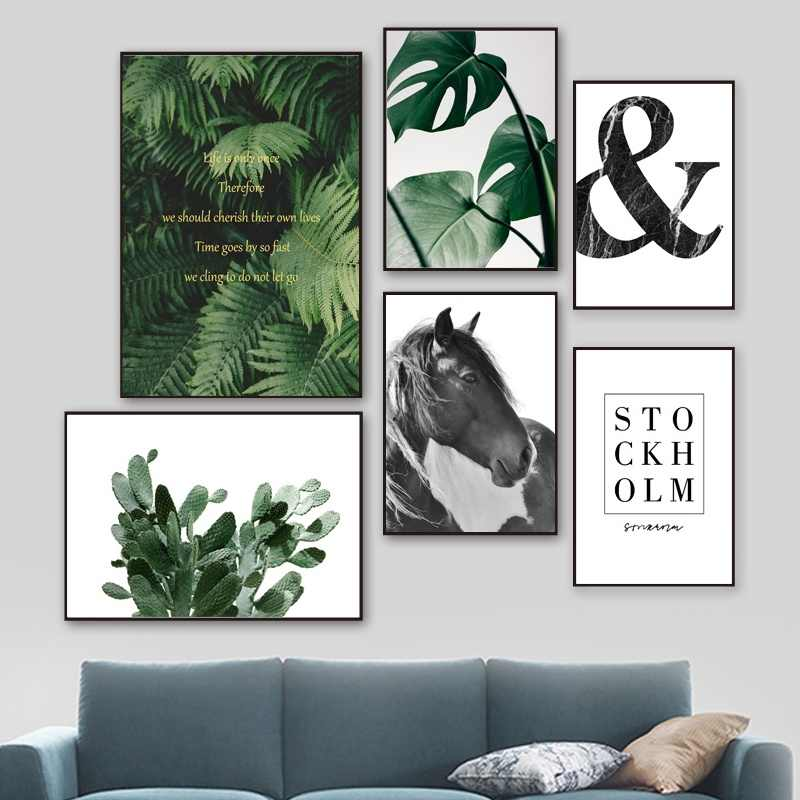 Cactus Monstera Fern Leaves Horse Quotes Wall Art Canvas Painting Nordic Posters And Prints Wall Pictures For Living Room Decor