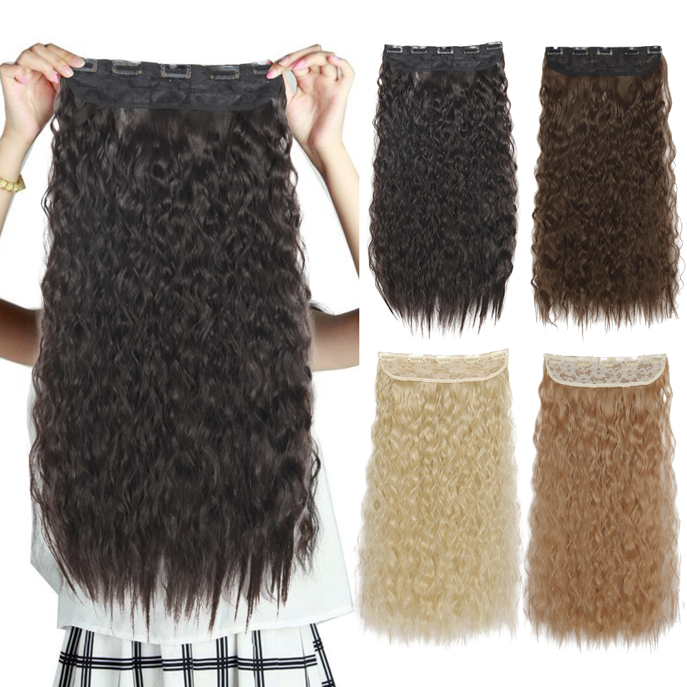 Azqueen Long Synthetic Water Wavy Clips Extension Hairpiece Wrap on 5 Clip Hair Ombre Brown Tail Blonde Fack Hair