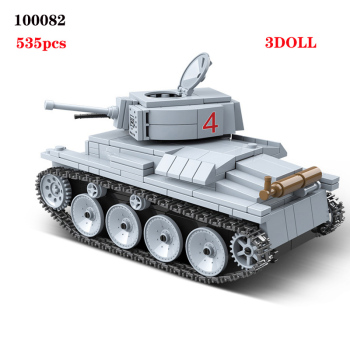цена на WW2 Military German LT-38 Light Tank Soldier Weapon Building Blocks WW2 Military Tank weapon accessory Bricks Toys For Children