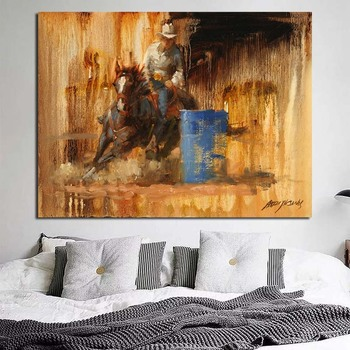 Western Cowboy Landscape Wallpaper Wall Art Canvas Posters Prints Painting Pictures Modern Living Room Home Decor Framework