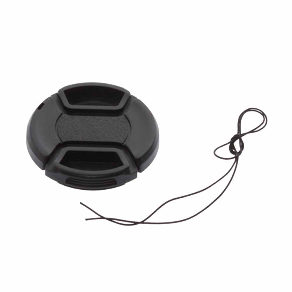 Professionele 52mm Front Lens Hood Cap Cover voor alle Canon Lens Filter met koord Nieuwe Cap Cover Center Pinch snap Black