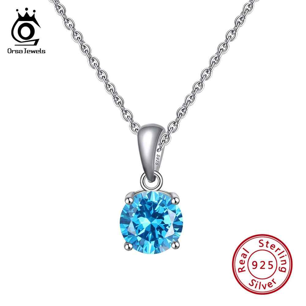 ORSA JEWELS 925 Sterling Silver Women Necklaces 12 Color Month Lucky Birthstone AAA CZ Zircon Pendant Necklace for Girls SN118