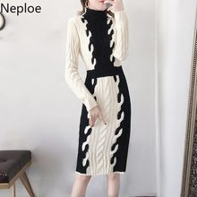 Neploe French Autumn Winter Slim Fit Knitted Maxi Sweater Dress Women Fashion Patchwork Long Sleeve Vestido Skinny Ropa 46599(China)