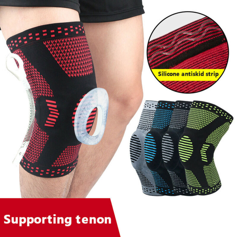 Sports Knee Support Pad High Compression Silicone Padded Knee Sleeve Brace Protector For Basketball Cycling Outdoor Sports 4FZ