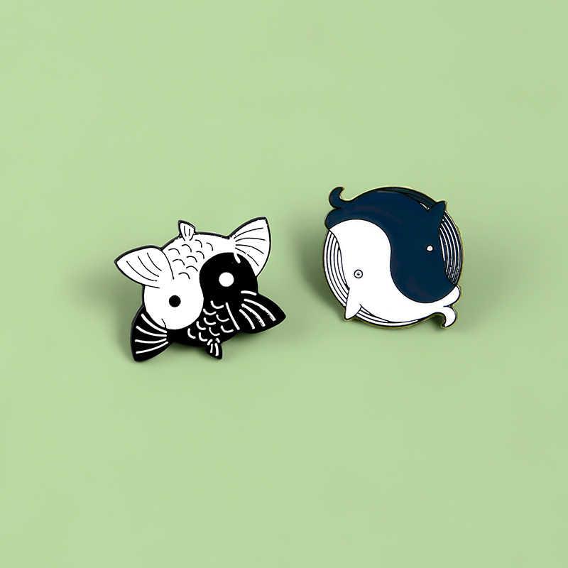 Zwart En Wit Taiji Yin Yang Grafische Pins Sieraden Gift Schattige Kleine Vis Whale Oceaan Zee Shirt Kleding Broche Accessoires
