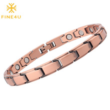 Anklet Magnetic-Therapy FINE4U Arthritis Pain-Relief Womens Copper for Feet And B381