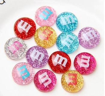 16mm 1000pcs Wholesale Cute Glitter Resin M Beans Kawaii Flatback Resin Cabochons Cream M Chocolate Bean Resin DIY Crafts