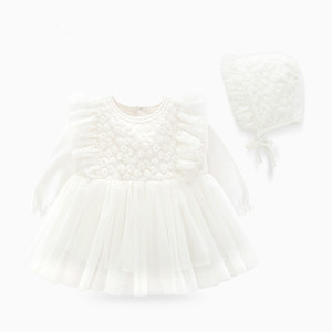 Image 4 - New Born Baby Girl Clothes Sets Formal  Lace Baptism Dress Baby Girl for Party Wedding 0 3 6 Months Infant Christening Dress