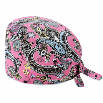 2020 Adjustable frosted cap cotton flower printed elastic cap with anti-sweat belt care cap laboratory work cap dust cap
