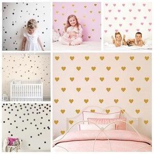 Serce gwiazda kropki ścienne dekoracyjne naklejki DIY naklejki ścienne dla dzieci wymienny Vinyl dzieci pokój Boys Baby Grils sypialnia naklejka ścienna
