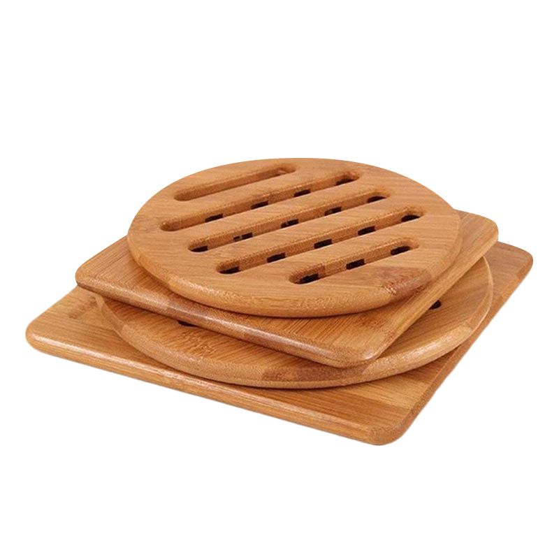 Bamboo Trivet, Home Kitchen Bamboo Hot Pads Trivet, Heat Resistant Pads Teapot Trivet, Square and Round (Multi-Size, Pack of 4)