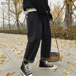 Calças de brim femininas sólido oversize novo estilo em linha reta do sexo masculino outono longo perna larga casual jean bf ulzzang chique macio de alta qualidade quente