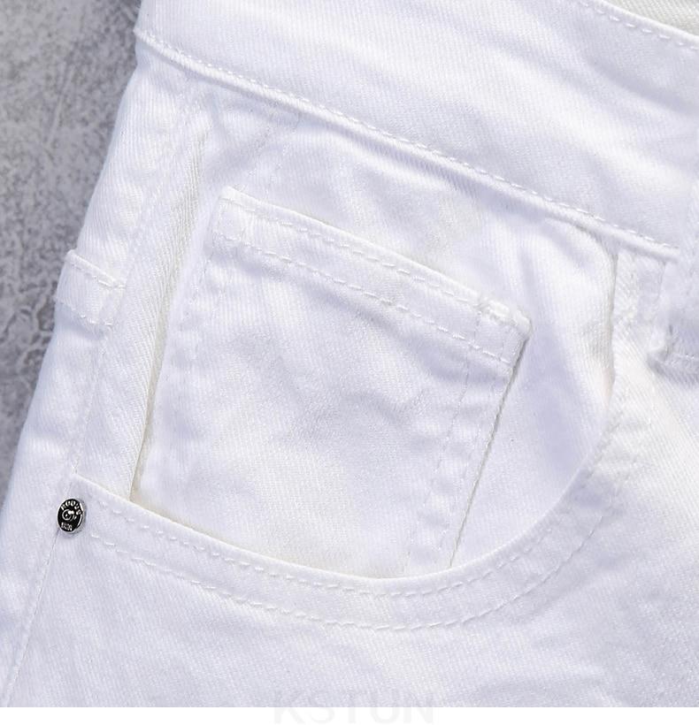 KSTUN Skinny Jeans Men Solid White Mens Jeans Brand Stretch Casual Men Fashioins Denim Pants Casual Yong Boy Students Trousers Cowboys 15