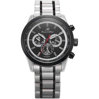 Gran venta KS de lujo automática viento fecha Día 24 horas negro 3 Dial correa de acero relojes de pulsera mecánicos caballeros Relojes
