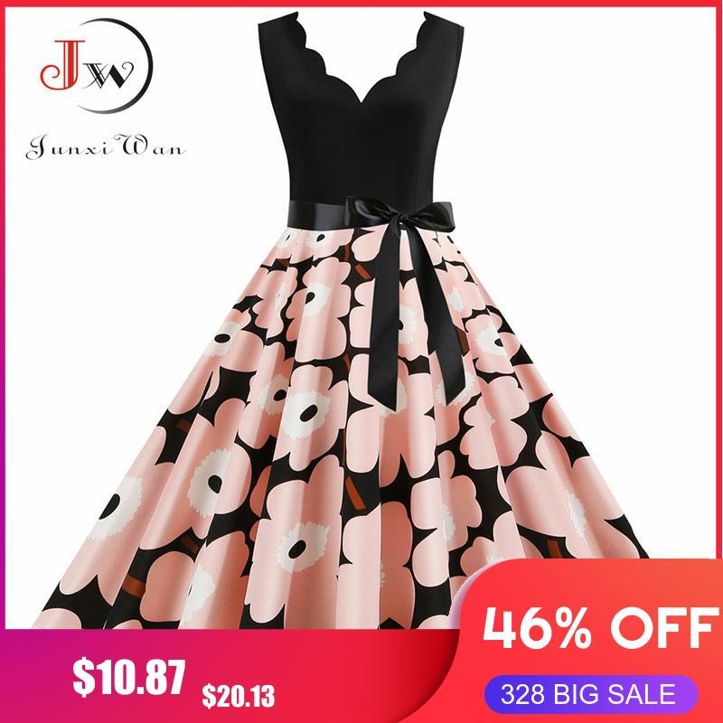 S~3XL Plus Size Vintage Summer Dress Women Robe Femme Fashion Pink Sleeveless Elegant A-line Midi Party Vestidos With Belt