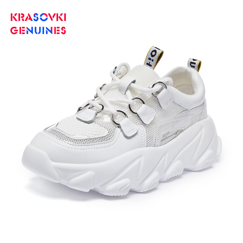 Krasovki Genuines Sneakers Women Solid Mesh Dropshipping Fashion Thick Bottom Autumn Breathable Bling Leisure Women Shoes