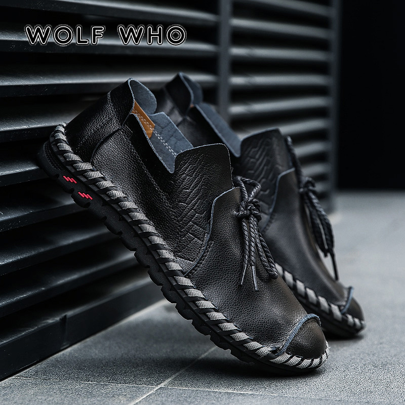 WOLF WHO Breathable Men Casual Shoes Adult Genuine Leather Loafers Slip On High Quality Sneaker Male Big Plus Size 38-50 W-015