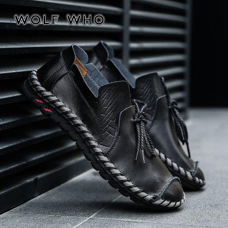 WOLF WHO, zapatos informales transpirables para hombres, mocasines de cuero genuino para adultos, zapatillas de deporte de alta calidad, zapatillas de hombre de talla grande 38-50 W-015 Zapatos náuticos de cuero de color verde militar para hombre, zapatos con cordones a la moda, enredaderas planas de 46, mocasines, zapatos de cuero genuino para hombre, zapatos informales mocasín